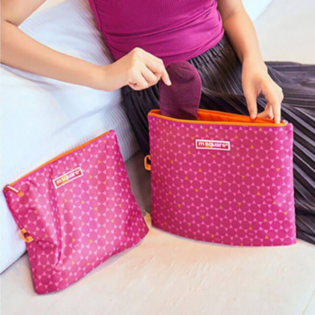 Фото использование мешочков на молнии розовый ромбик. Товары для отдыха. Интернет-магазин В Отпуск
